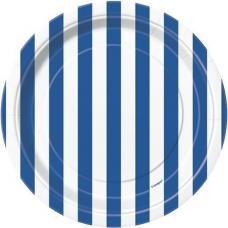petites assiettes a rayures bleus et blanches