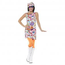 costume robe fleurie hippie annee 60
