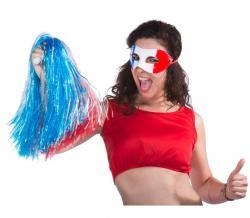 Pom Pom raphia Bleu Blanc Rouge pas cher