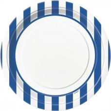 assiettes blanches a rayures bleus