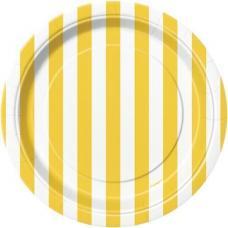 petites assiettes a rayures jaunes et blanches