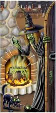 décor halloween de porte sorcière