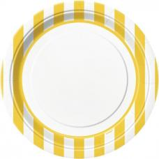 assiettes blanches a rayures jaunes