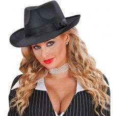 chapeau gangster satin noir