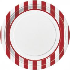 assiettes blanches a rayures rouges