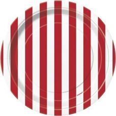 petites assiettes a rayures rouges et blanches