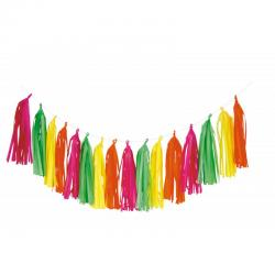 guirlande tassel fluo multicolore pas cher