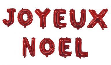 ballons lettres joyeux noel rouge