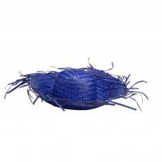 chapeau hawai bleu en feuilles de palmier