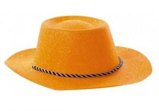 chapeau cowboy orange a paillettes