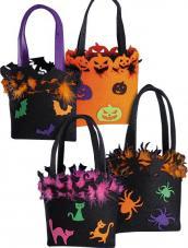 Sac Halloween décoré et plumes