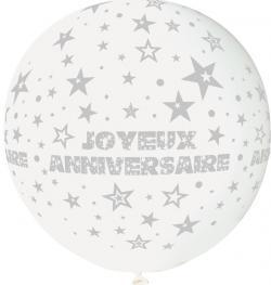 Ballon Géant Joyeux Anniversaire Blanc