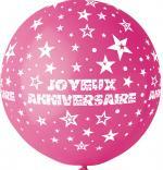 Ballon Géant Joyeux Anniversaire Fuchsia
