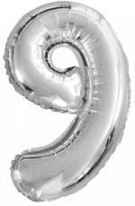 Ballon Chiffre 9 Argent Petit Modèle