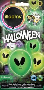 Déguisements Ballons Alien Vert Lumineux