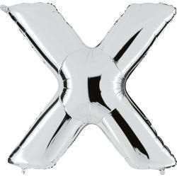 Ballon Lettre X Métallisé Argent