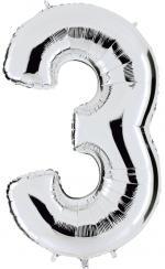 Ballon Chiffre 3 Argent Géant
