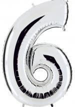 Ballon Chiffre 6 Argent Géant