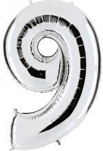 Ballon Chiffre 9 Argent Géant