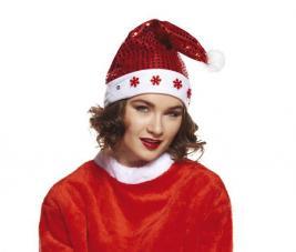 bonnet de noel rouge lumineux paillette