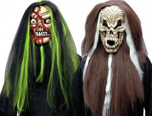 Masque halloween souple avec cheveux bicolores