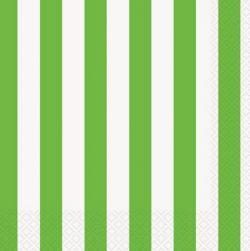 Serviettes en papier rayures vertes et blanches