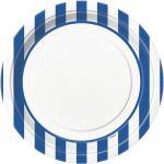 Déguisements Assiettes Blanches à Rayures Bleus
