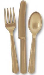 18 Couverts en plastique or