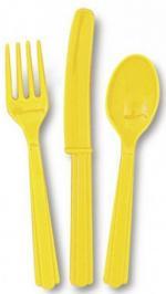 18 Couverts en plastique jaune pastel