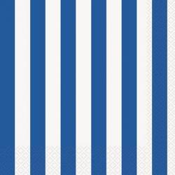 Serviettes en Papier Rayures Bleues et Blanches