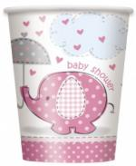 Gobelets baby shower éléphant rose
