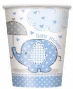 8 Gobelets baby shower éléphant Bleu