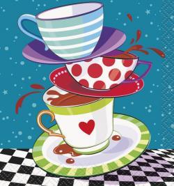 8 Serviettes à dessert tasses et compagnie