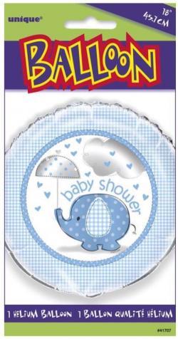 Ballon aluminium baby shower éléphant bleu