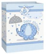 Sac à cadeau baby shower éléphant bleu