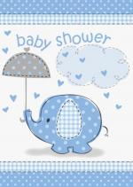 8 Cartes invitations baby shower éléphant bleu