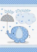 Déguisements 8 Cartes invitations baby shower éléphant bleu
