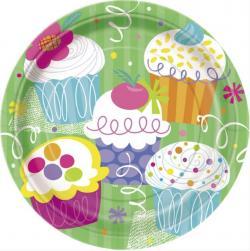 8 Assiettes anniversaire Cupcake