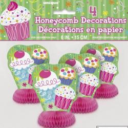 4 Décorations de table anniversaire Cupcake