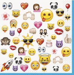 16 Serviettes anniversaire Emoji Smiley