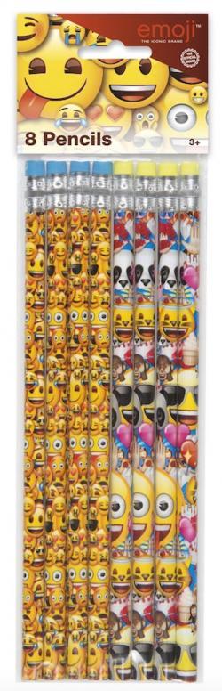 8 Crayons à papier Emoji Smiley