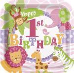 8 Assiettes carrées anniversaire Safari Rose