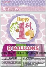 8 Ballons latex anniversaire Safari Rose