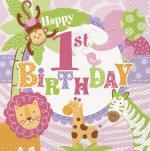 20 Serviettes anniversaire Safari Rose