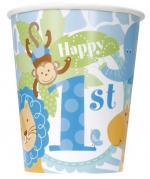 8 Gobelets anniversaire Safari Bleu