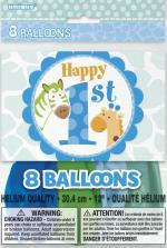 8 Ballons latex anniversaire Safari Bleu