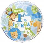 Ballon aluminium anniversaire Safari Bleu