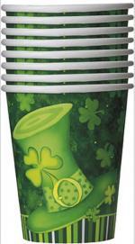 Déguisements 8 Gobelets chapeau Saint Patrick