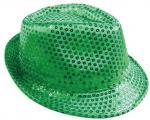Déguisements Chapeau sequin borsalino vert