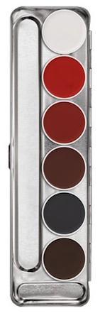 Déguisements Palette maquillage fard à eau 6 couleurs Kryolan